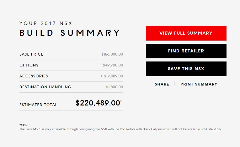 2017 Acura NSX Online Configurator Is Now Live