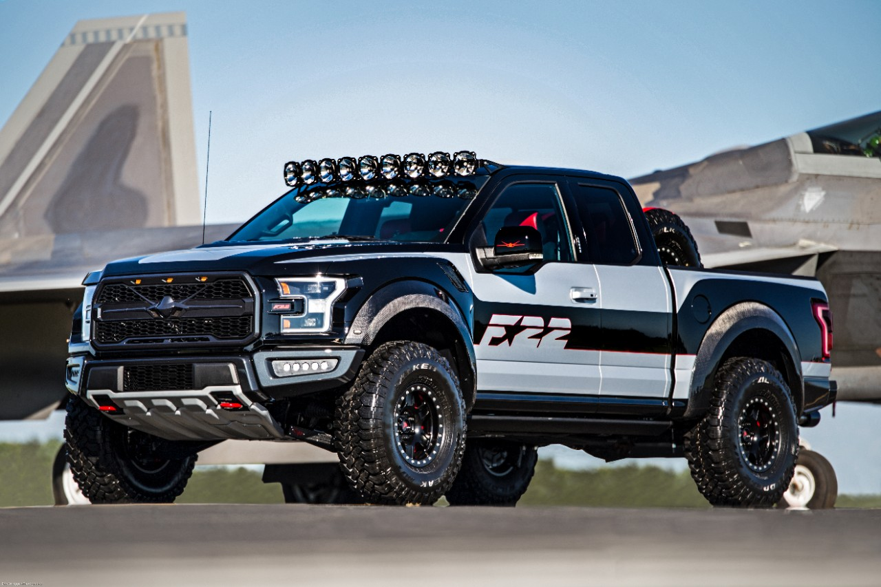 f 22 fighter jet inspired ford f 150 raptor sold for 300k. Black Bedroom Furniture Sets. Home Design Ideas